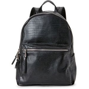 French Connection Faux Croc Leather Backpack - BLK